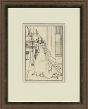 "1896 Original Line Block Print ""The Coiffing"" by Artist, Audrey Beardsley"