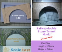 DOUBLE TRACK STONE TUNNEL Mould for Model Railway scenery - N02 N Gauge