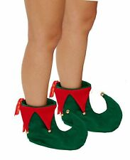 RED AND GREEN CHRISTMAS ELF BOOTS SHOES WITH BELLS XMAS FANCY DRESS COSTUME HB