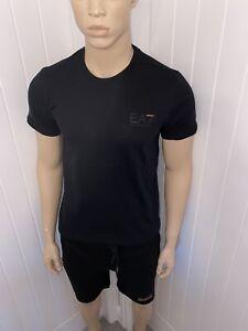 """Mens Armani Tshirt & Short Set Medium 38""""Chest 32""""waist Black Ea7 Bnwt £79.99"""