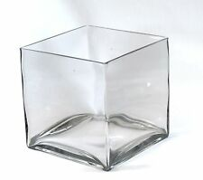 "Clear Large Square Glass Vase Cube - 8 Inch - 8"" x 8"" x 8"" Oversize Centerpiece"