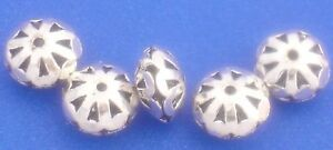 925 SILVER Victorian Filigere12mm diameter X 7mm hieght Rondelle (4 Beads) S33