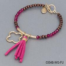 Brown Wood Fushia Faceted Seed Beaded Tassel Gold Charm Bangle Bracelet