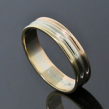 Cartier 18K Tri Color Gold White Rose Yellow 5.5mm Band Ring Size 10.75