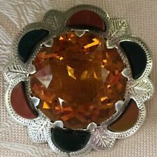Antique Vintage Sterling Silver Scottish Agate and Citrine large Brooch Pin