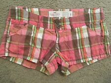 HOLLISTER Stretch Pink Green Brown Plaid Casual Booty Bootie Shorts womens 0