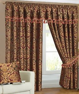 Fully Lined Readymade Pencil Pleat Heavy weight Jacquard /Chenille Curtains Pair