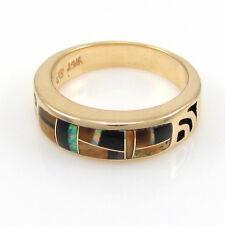 STUDIO GL Southwestern Solid 14k Yellow Gold Mosaic Inlay Ring Sz 6.25 | RS BMX