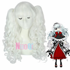 Women Gothic Lolita Axanael White 2 Ponytails Long Wavy Curly Cosplay Full Wig