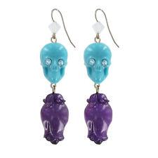 """Tarina Tarantino Sugar Skulls """"Rosebud"""" Aqua & Purple Earrings ~~Made in USA~~"""
