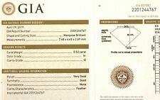 GIA loose certified .43ct SI2 G Marquise natural fancy cut diamond estate