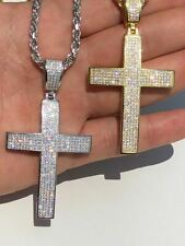 Mens Solid 925 Silver Cross Pendant Real ICED 3ct Diamond 14k Gold W. Rope Chain