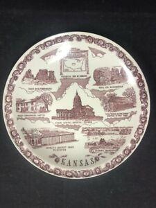 Commemorative Plate Vernon Kilns; Des Moines Iowa  10.5 inches Brown Transfer with Hand Color tint 1940/'s