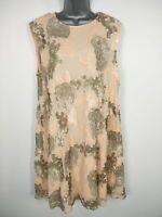 BNWT WOMENS DOROTHY PERKINS BLUSH SEQUIN EMBELLISHED SHIFT DRESS UK 16 RRP £75