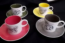 SEYEI 8 Piece Fine China Cups & Saucers - Set of 4 Harlequin Colours : Japan