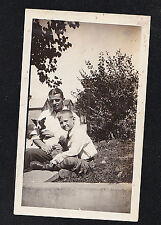 Antique Photograph Little Boy & Dad w/ Cute Puppy Dog on Wall - Boston Terrier?