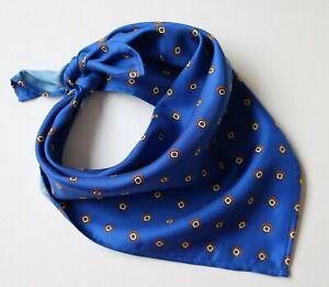 "Silk Neckerchief Cravat. Royal / Marine blue 20"" square. Hand made"