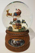 Santa Flying Over Town RARE Snow Globe Rotating Train Christmas Glitter Dome