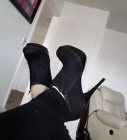 Womens Black shoes By spot on Ladies stilettos high heels faux Suede boot Size 5