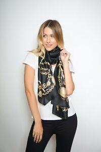 100% Silk Scarf in Black & Gold Chain Print