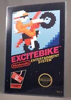 "EXCITEBIKE NES POSTER w/ Top Loader Video Game 17"" Box Art Restoration Nintendo"
