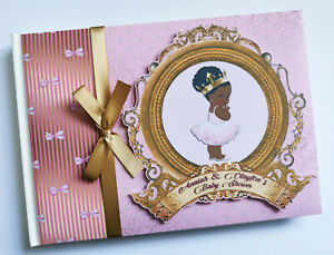 Personalised black princess baby shower guest book, gold and pink princess album
