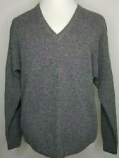 Vintage YSL YVES SAINT LAURENT Pour Homme Mens Size 42 Gray Lana V-Neck Sweater