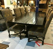 10ft Dark Farmhouse Style Table w/ 8 Upholstered Dining Chairs