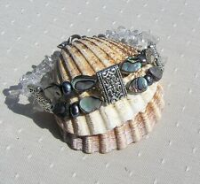 "Abalone Shell & Clear Quartz Gemstone Crystal Bracelet ""Peacock Dawn"""