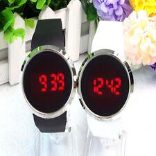 Men Women Luxurious Waterproof Watch LED Touch Screen Date Silicone Wrist Black