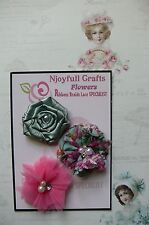 HANDMADE 3 Flower Mix MINT FUCHSIA Organza Lace Satin 45, 55&60mm NjoyfullCrafts