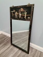 More details for oriental mirror with inlaid mother of pearl with brass hangars black laquier