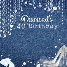 Diamond 40th Birthday Party 8x8' Backdrop Photography Studio Props Background