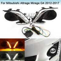 LED Daytime Running Light Fog Lamp For Mitsubishi Attrage Mirage G4 2012-17 DRL