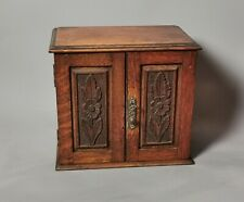 More details for antique victorian oak smokers cabinet, arts and crafts