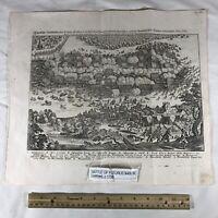 Large Antique German Engraving Of Battle Of Fleurus - Circa 1700's - Map Scene