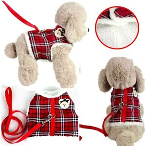 No-pull Small Dog Harness & Leash Cat Pet Fleece Padded Vest Coat for Chihuahua