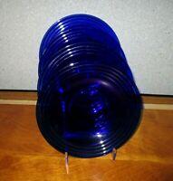 Bormioli Rocco Forum Saphir Rim Soup Pasta Bowls Lot 4 Cobalt Glass Ribbed EUC