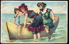 Two Girls in Seaside Rowing Boat. 1914 Vintage Embossed Postcard. Free Post