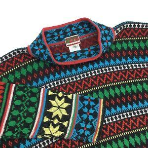 Women's KENZO JUNGLE PARIS Sweater France Cardigan Black Red Green Size - L