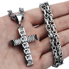 Cross Pendant Necklace Chain sp011 Men's Silver Stainless Steel 5mm Byzantine