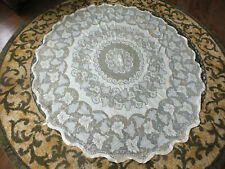 """Collectible Beautiful Lace Table Cloth Cream 68"""" Round Made in Great Britain"""