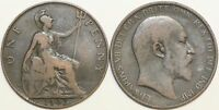1902 to 1910 Edward VII Bronze Penny Your Choice of Date / Year