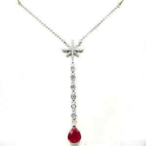 """NATURAL 8 X 10 mm. RED RUBY & WHITE CZ NECKLACE 26"""" 925 STERLING SILVER"""