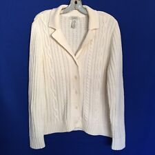 Classic Elements Women's Off White Stretch Knit Cotton Sweater Cardigan L 14 16