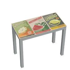Mesa de cocina extensible en cristal templado con serigrafiado frutas 90x76x45cm