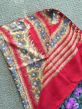 NWOT Multi-Colored Floral Printed Sari, Red Pulla, Pink/Black Inside, No Fall