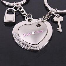 Couple True Love Heart Shape Lock Keychain Keyring Keyfob Valentine's Gifts ACTP