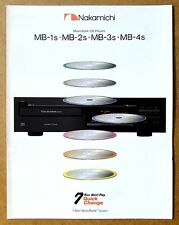 NAKAMICHI MusicBank CD Players MB-1s, MB-2s, MB-3s, MB-4s Vintage Audio Brochure