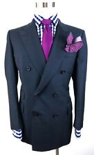 Turnbull Asser Men's Blue Check Chester Barrie Wool Savile Row Suit 42R 36W 30L
